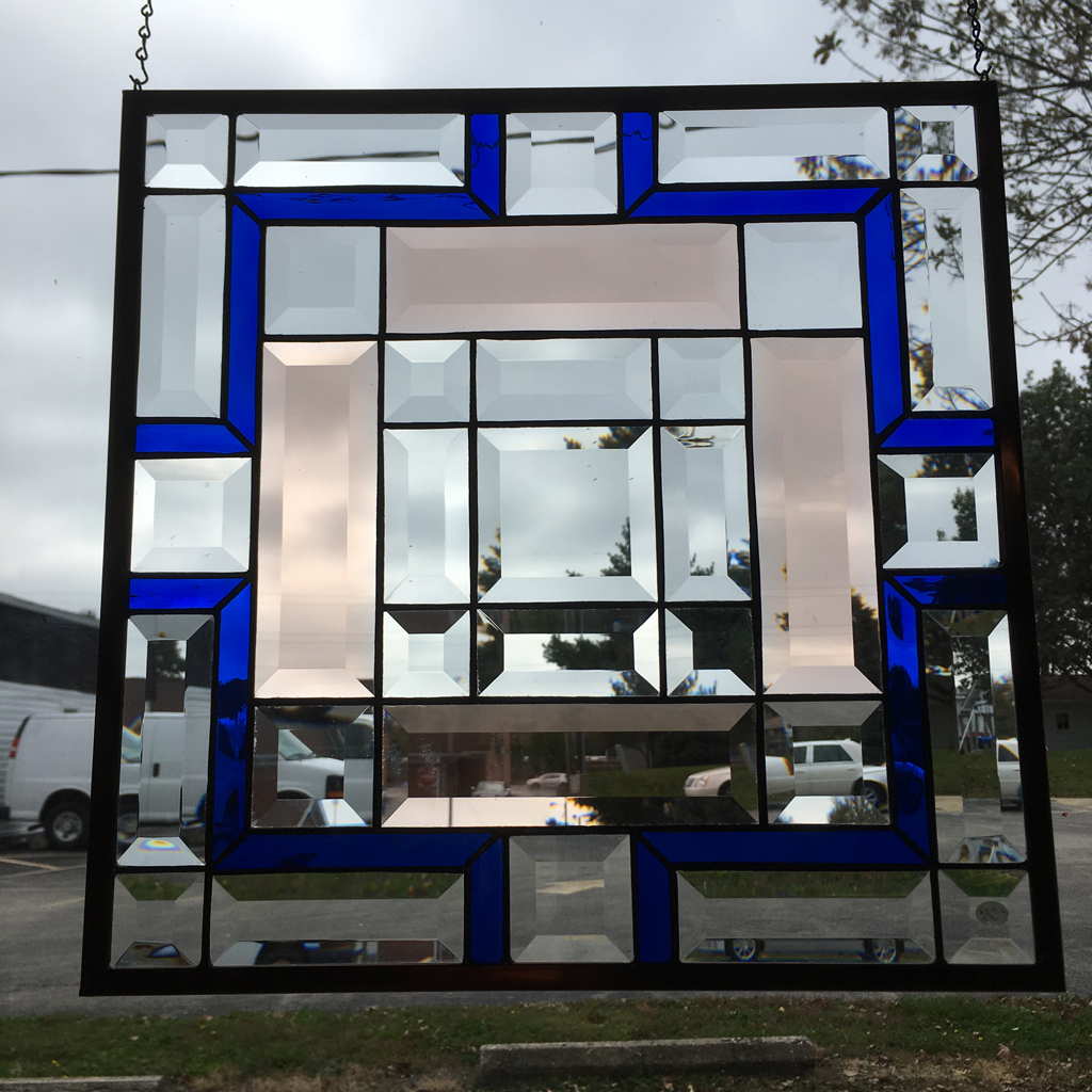 MMS 5004P Bevel Cluster Finished Stained Glass Project Panel