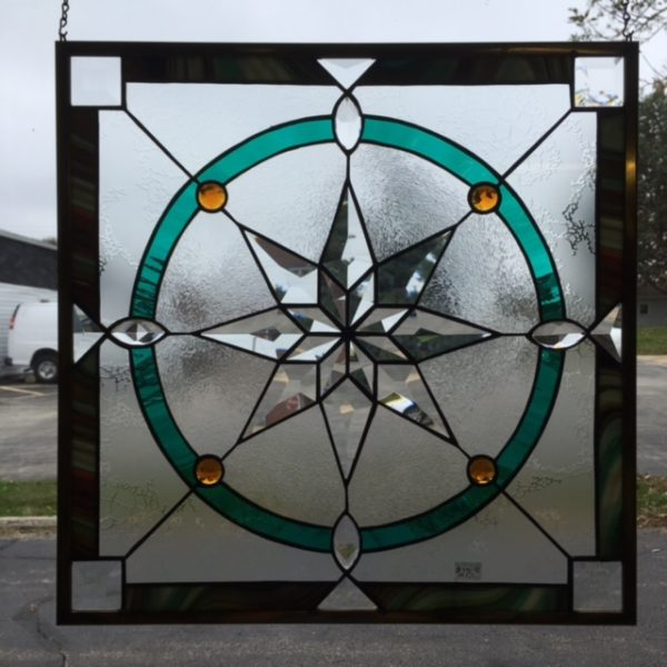MMS Quilt Star Bevel Cluster Finished Stained Glass Project Panel