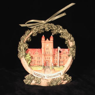 Decatur Millikin University ornament on stand
