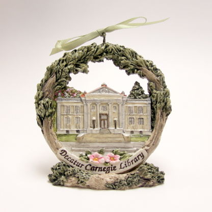 Decatur Carnegie Library Christmas ornament on stand