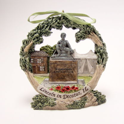 Decatur Abraham Lincoln Christmas ornament on stand