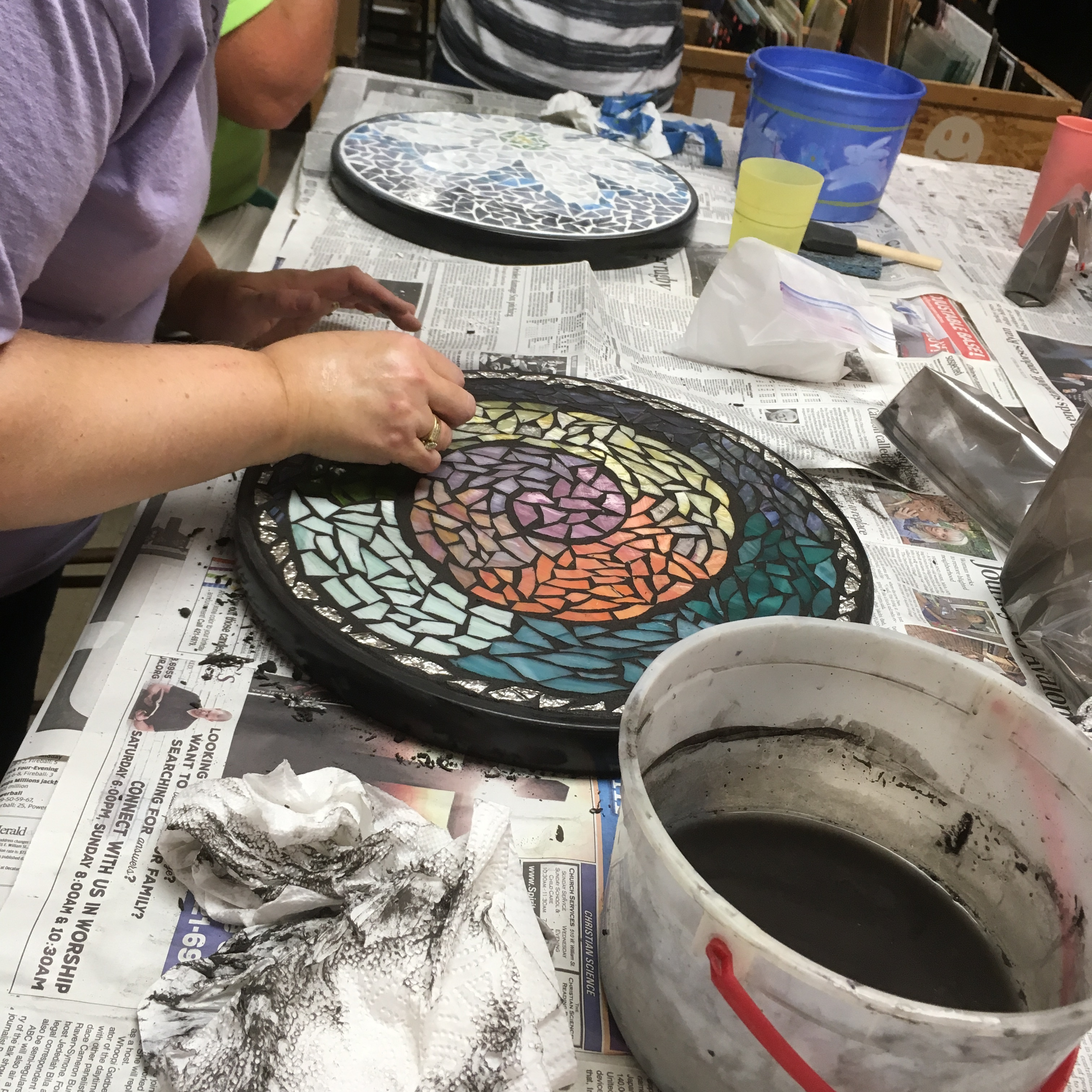 Mosaic stained glass table class