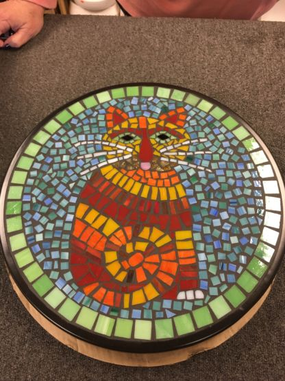 Mosaic glass table class cat