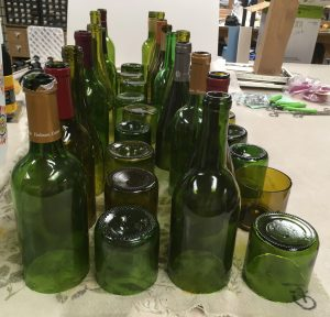 Cut Wine Bottles on the Table