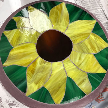 Sun Flower Finished Project DiamondCrete Stepping Stone Class