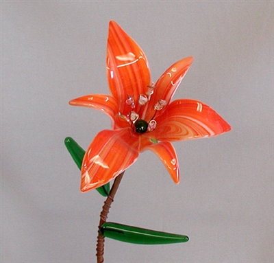 Orange Lily Flower - Fused Glass Flowers Class Project