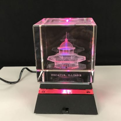 Black lighted base with 3D Glass Transfer House