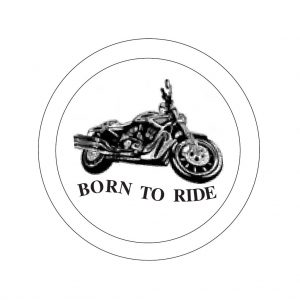 Harley born to ride bevels etched 6 inch glass bevel