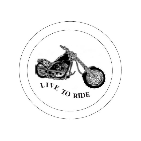 Harley motorcycle live to ride bevels etched 6 inch glass bevel