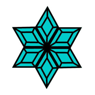 Turquoise Snowflake Glass Bevel Cluster