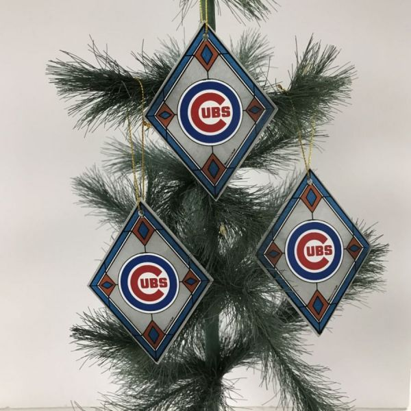 Chicago Cubs Art Glass Ornaments